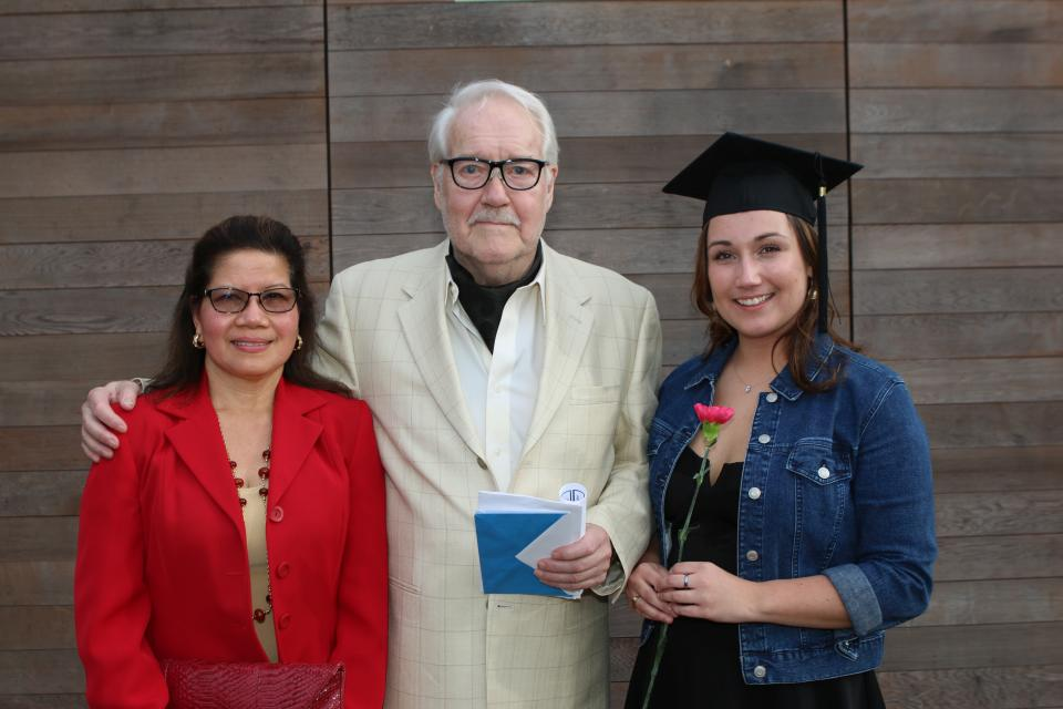 Salud Espiritu, left, a board member of the Pieter de Reuver Foundation, Pieter de Reuver, and award winner Michelle Corbett gather at the Adult Basic Education graduation ceremony at VIU.
